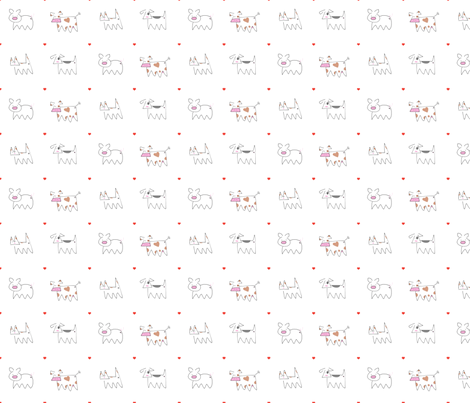 Raining Cats, Dogs, Cows and Pigs fabric by catrou on Spoonflower - custom fabric