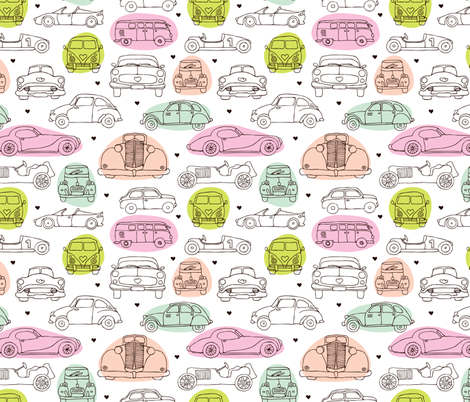 Oldtimers and cars vintage toys for girls fabric by littlesmilemakers on Spoonflower - custom fabric