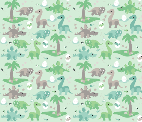 baby dinosaurs fabric by heleenvanbuul on Spoonflower - custom fabric
