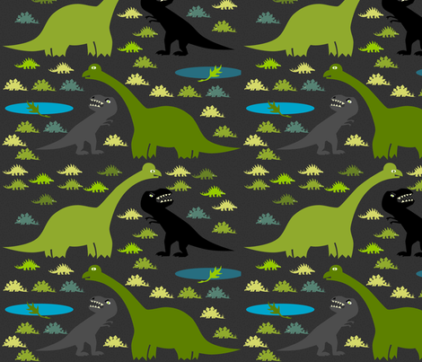 Night_of_the_dino fabric by reginamartinedesign on Spoonflower - custom fabric