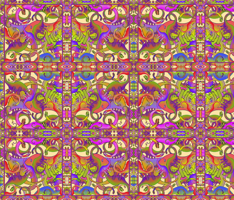 DINOSAURS BRIGHT PSYCHEDELIC fabric by paysmage on Spoonflower - custom fabric