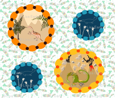 Dino Vignette on fish fossil background