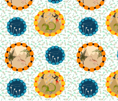 Dino Vignette on fish fossil background fabric by vanillabeandesigns on Spoonflower - custom fabric