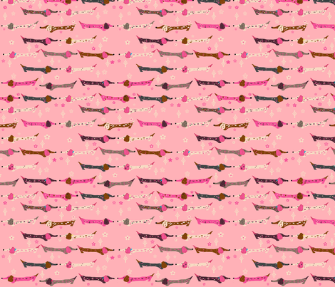 Dappled Dachshunds on Pink fabric by theartwerks on Spoonflower - custom fabric