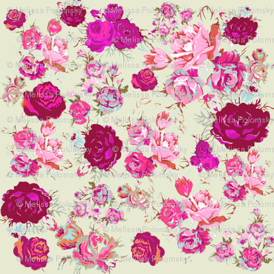 Beautiful Vintage Floral Print in Magenta, Coral and Mint.