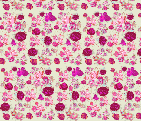 Beautiful Vintage Floral Print in Magenta, Coral and Mint. fabric by theartwerks on Spoonflower - custom fabric