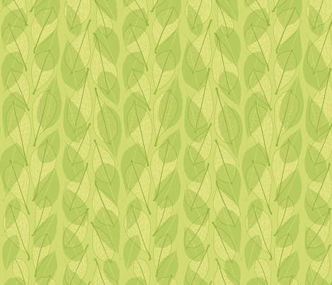 Leaf line overlays - green fabric by linkolisa on Spoonflower - custom fabric