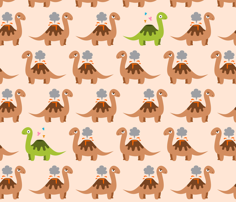 Volcanosaurus fabric by petitspixels on Spoonflower - custom fabric