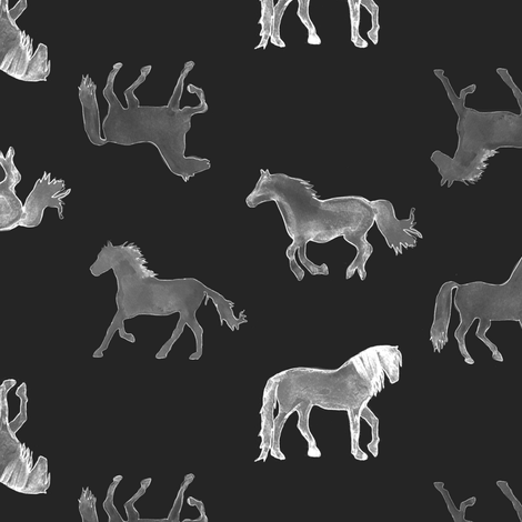 Horses in Charcoal fabric by emilysanford on Spoonflower - custom fabric