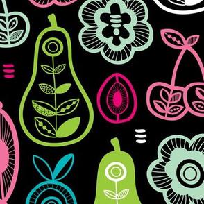 Retro fruit and veggie garden colorful summer design