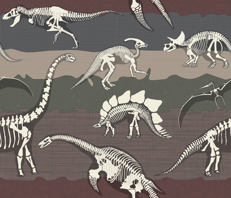Julie's Dinosaurs Dig fabric by juliesfabrics on Spoonflower - custom fabric