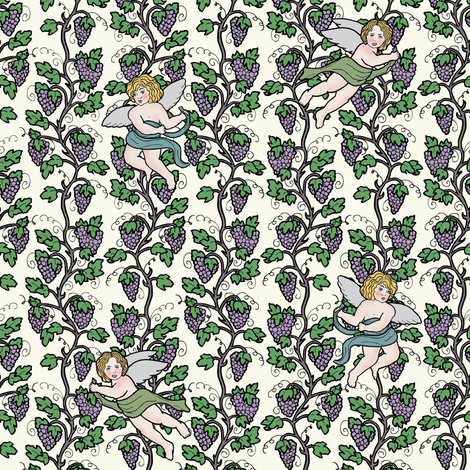 Little Cherubs and Vines fabric by vixxin on Spoonflower - custom fabric