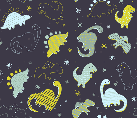 Adorable Dinos fabric by lsk235 on Spoonflower - custom fabric