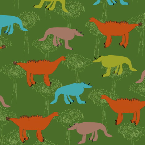 Bubbie's dinosaurs fabric by weavingmajor on Spoonflower - custom fabric