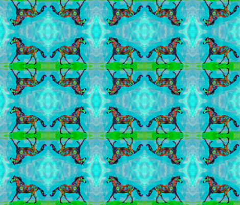 Celtic Horse 2, Smaller Mirror Repeat fabric by dovetail_designs on Spoonflower - custom fabric