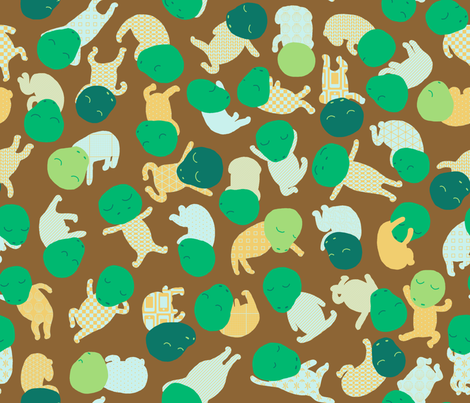 Dozing Dinos fabric by mongiesama on Spoonflower - custom fabric