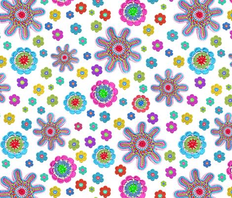 crochet-flowers fabric by stefanie_vh on Spoonflower - custom fabric