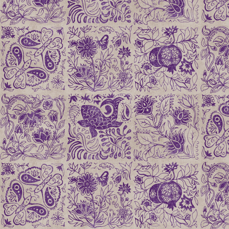 Palace Garden | Aubergine Woodblock Tile fabric by forest&sea on Spoonflower - custom fabric