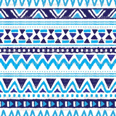 Winter aztec tribal geometric blue peru print XS