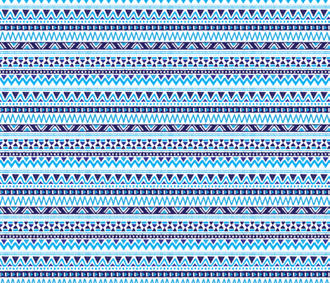 Winter aztec tribal geometric blue peru print XS fabric by littlesmilemakers on Spoonflower - custom fabric