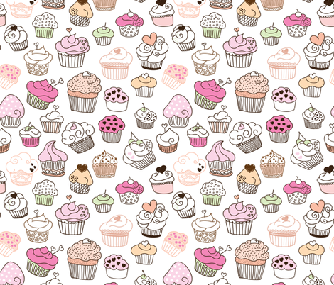 Sweet cupcake girls cake and candy birthday theme fabric by littlesmilemakers on Spoonflower - custom fabric