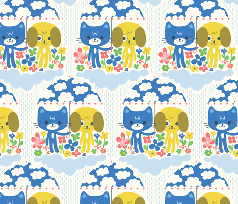 Cat  and dog under the rain fabric by we_love_patterns on Spoonflower - custom fabric