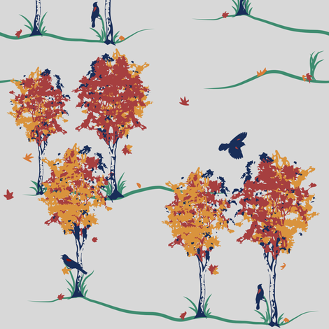 Autumnal Scene with Red-winged Blackbirds fabric by yourfriendamy on Spoonflower - custom fabric