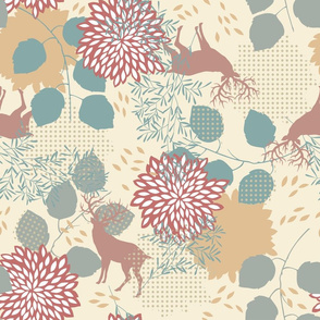 Pattern with Deers and Leaves