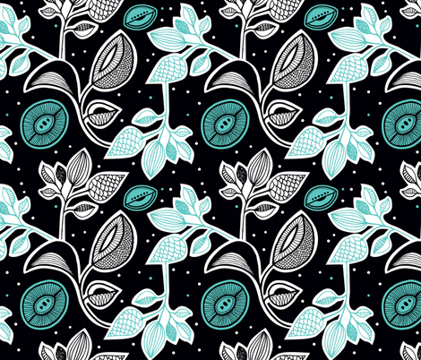 Retro flowers night winter blossom fabric by littlesmilemakers on Spoonflower - custom fabric
