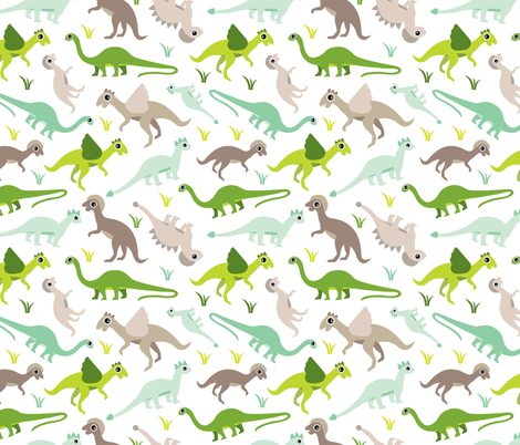 Dinosaur world cool pre-historic dino animals for kids fabric by littlesmilemakers on Spoonflower - custom fabric