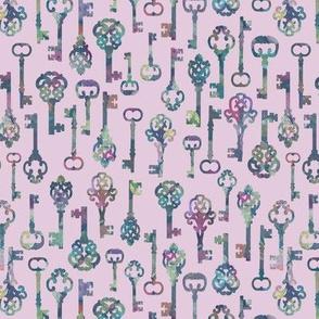 Skeleton Key Silhouettes on Lavender
