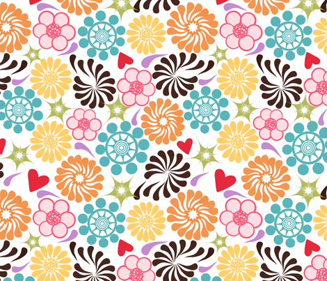 Mod Flowers fabric by joyfulrose on Spoonflower - custom fabric
