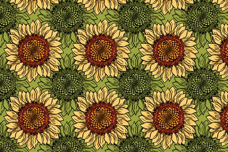 Sunflower goes Retro fabric by woodledoo on Spoonflower - custom fabric
