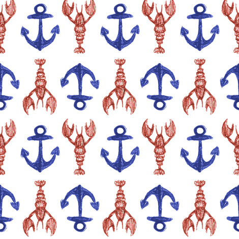 Lobster and Anchors fabric by crumpetsandcrabsticks on Spoonflower - custom fabric