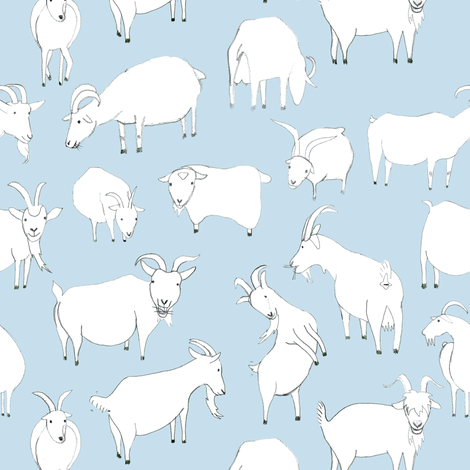 Goats Playing - Baby Blue fabric by crumpetsandcrabsticks on Spoonflower - custom fabric