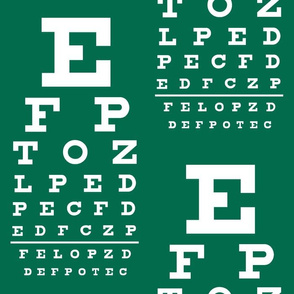 XL vision chart in white on green