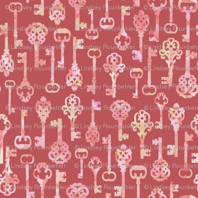 pink skeleton key silhouettes
