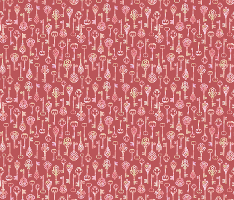pink skeleton key silhouettes fabric by elephant_trunk_studio on Spoonflower - custom fabric