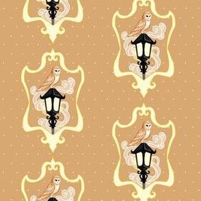 Barn Owl on Foggy Lamp Post