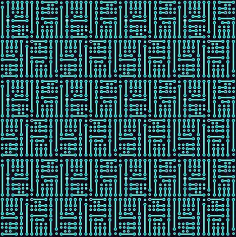 geometric circuit cyan fabric by ladyrattus on Spoonflower - custom fabric