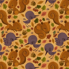 Autumn Squirrel and Crow