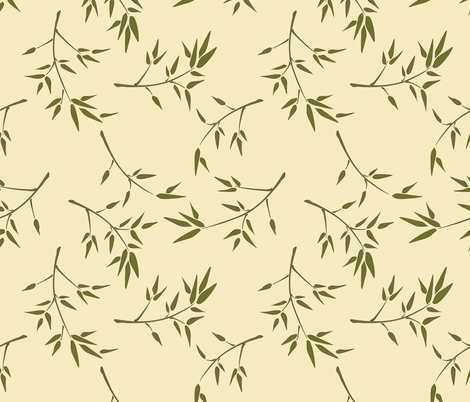 Bamboo Branches on Gardenia fabric by audsbodkin on Spoonflower - custom fabric