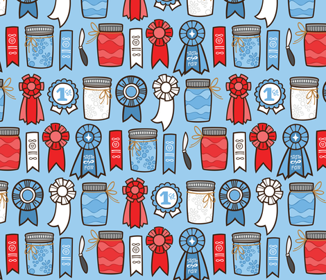Blue Ribbon fabric by smashworks on Spoonflower - custom fabric