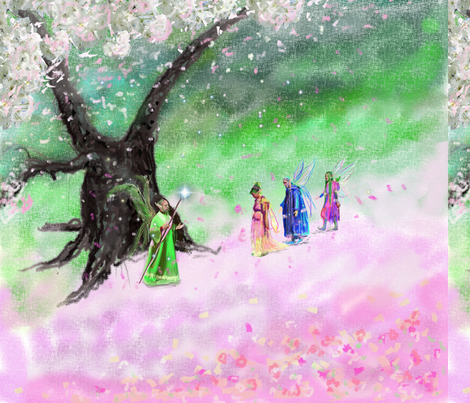 Cherry Blossom Ooak Fairies fabric by mariannemathiasen on Spoonflower - custom fabric