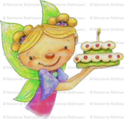 Happy Birthday Fairy With Cake