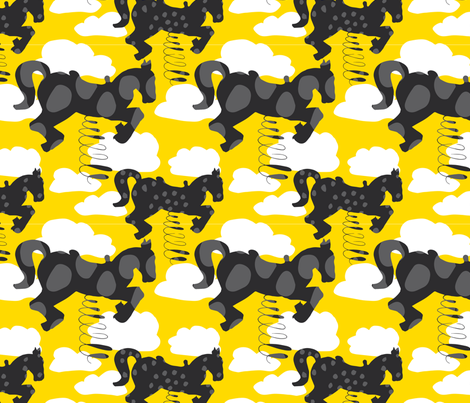 Horse_on_wire fabric by camilla_foss on Spoonflower - custom fabric