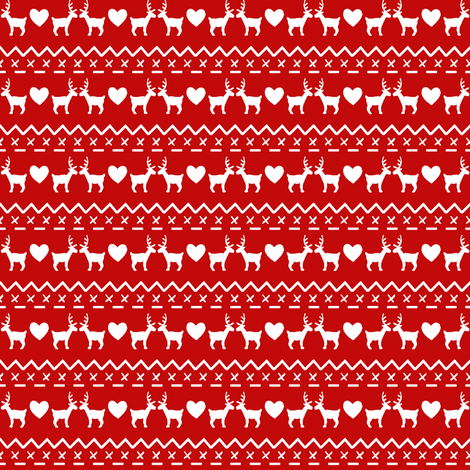 Christmas with love white on red fabric by hazel_fisher_creations on Spoonflower - custom fabric