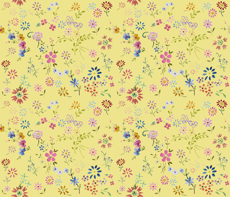 Ditsy_flowers_yellow fabric by peppermintpatty on Spoonflower - custom fabric