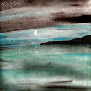 night at sea watercolor