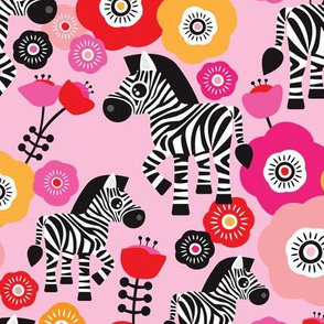 Dancing zebra flower girls flowers pink horse